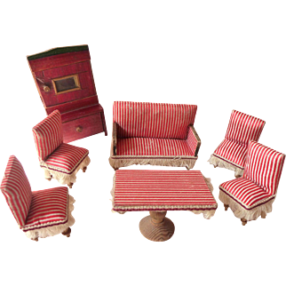 Remarkably Antique German Red and white striped Parlor Set (Cupboard is sold)