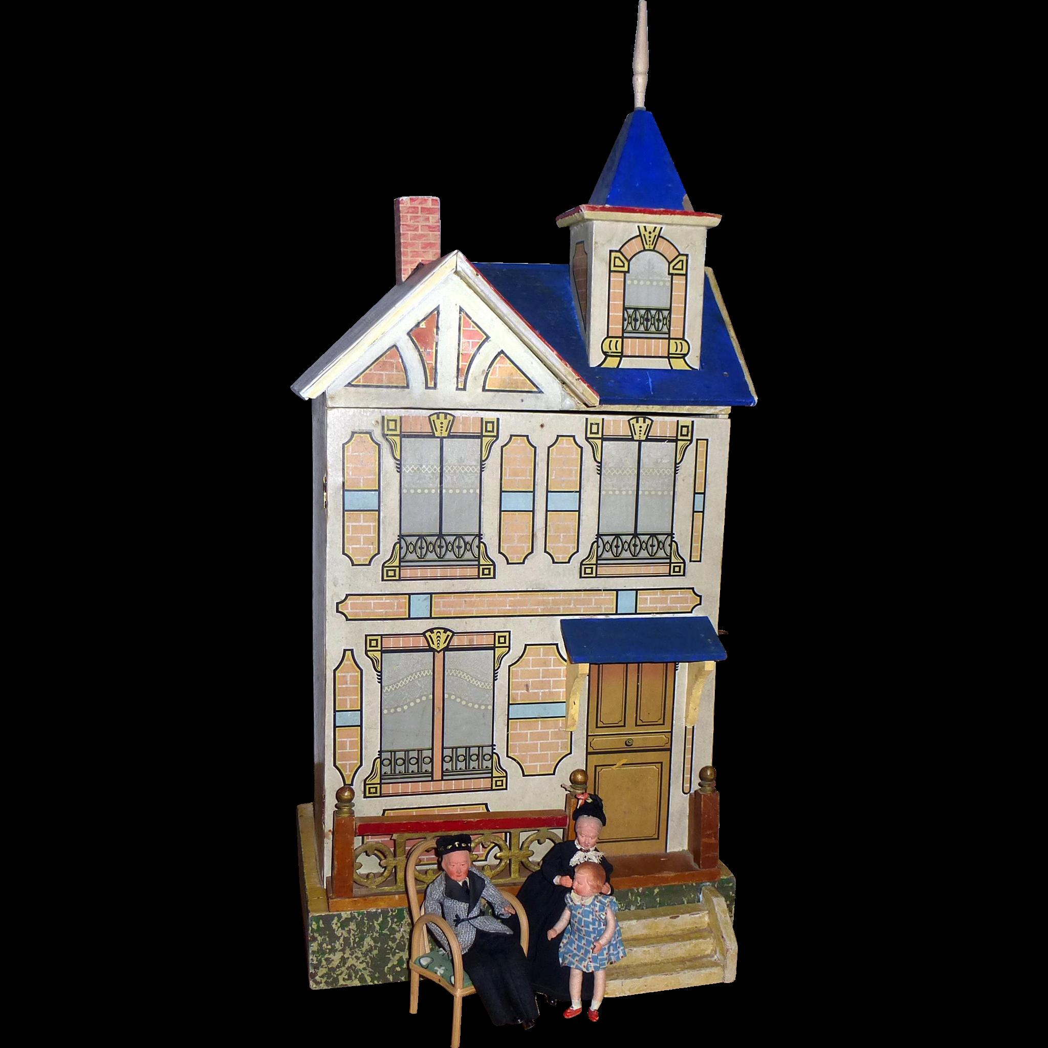 Antique Gottschalk Dollhouse Blue Roof From Luisa27 On