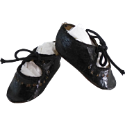 Rare and very pretty French Alart Doll Shoes circa 1890