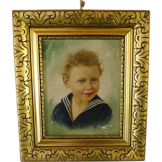 Oil Painting sweet little child - around 1890
