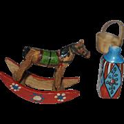 French Rocking horse tiny and tiny painted flower vase