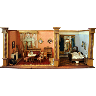 Magnificent antique German 2 room doll house box