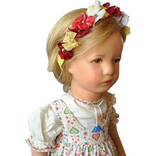Pretty vintage fabric head Kathe Kruse doll Ilsebill