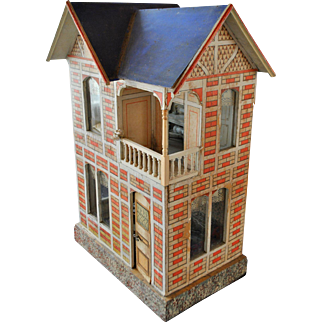 Antique blue roof Gottschalk doll house c. 1910