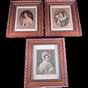 "Antique Wooden Framed ""Ladies"" Portraits-Set of 3"