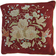 Vintage Needlepoint Pillow 18x18 Velvet Back-Bird/Floral Motif
