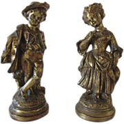 Borghese Italian Gold Painted Boy and Girl Resin Figurines