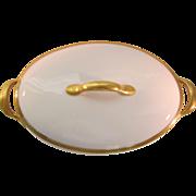 Union Ceramique Limoges Oval Covered Vegetable with Gold Encrusted Laurel Trim