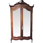 Antique Mirrored Door Carved Wood China Cabinet Armoire