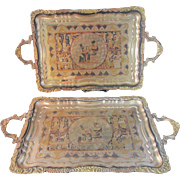 "Set of 2 Vintage Egyptian Mixed Metal Handled 19"" Trays"