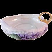 Vintage Luster Ware Leaf Shaped Violet Dish-signed F.B