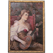 """Antique Original Signed Oil on Canvas of """"Woman Playing Mandolin""""-1904"""