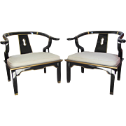 Pair of Black Lacquer Century Chairs with Gold Detail