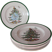 Set of 8 Spode Christmas Tree Dinner Plates- 10.75""