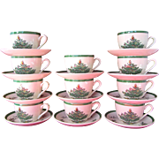 Set of 10 Spode Christmas Tree Flat Cup and Saucers