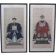 Vintage Pair of Chinese Royalty Mixed Media Framed Paintings
