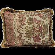 "Vintage Jacquard  Tapestry Pillow- 20x16"""