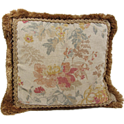 "Vintage Floral Linen & Silk Pillow with Ornate gold Trim- 18"" Square"