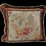 "Vintage Floral Linen & Silk Pillow with Metallic Copper Trim- 18"" Square"