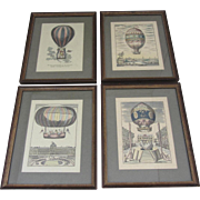 """""""Ballooning""""-Set of 4 Hand Colored Etchings"""