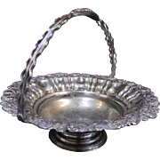 Large Footed Silver Plate Handled Basket