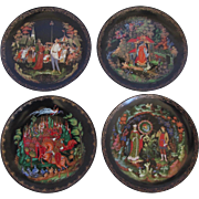 """Set of 4 """"Legend of Russian Fairy Tales"""" Collectors Plates by Tianex"""