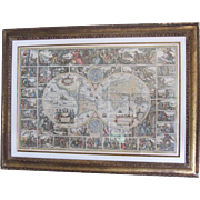 Latin Astrological Map in Antique Gold Frame- 45 x 33""