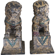"Vintage Gilded Carved Foo Dogs-Pair 15""tall"