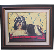 Vintage Lhasa Apso Framed Print on Canvas