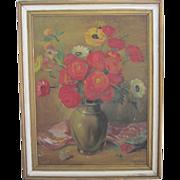 "Signed Original Vintage Floral Still Life Painting-27x21"""