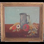 "Original Signed ""Harvest Fruit in Majollica Pitcher"" Oil Painting-1946"