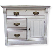 Refurbished Antique Night Stand with Ornate Brass Drawer Pulls