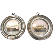 Pair of Round Framed Boat Engravings