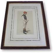 "Vanity Fair Framed Caricature of Jockey ""Fred Webb"""