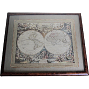 Mythological Atlas Map in Burl Frame