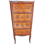 Antique Marble Top Chest with Diamond Paneling