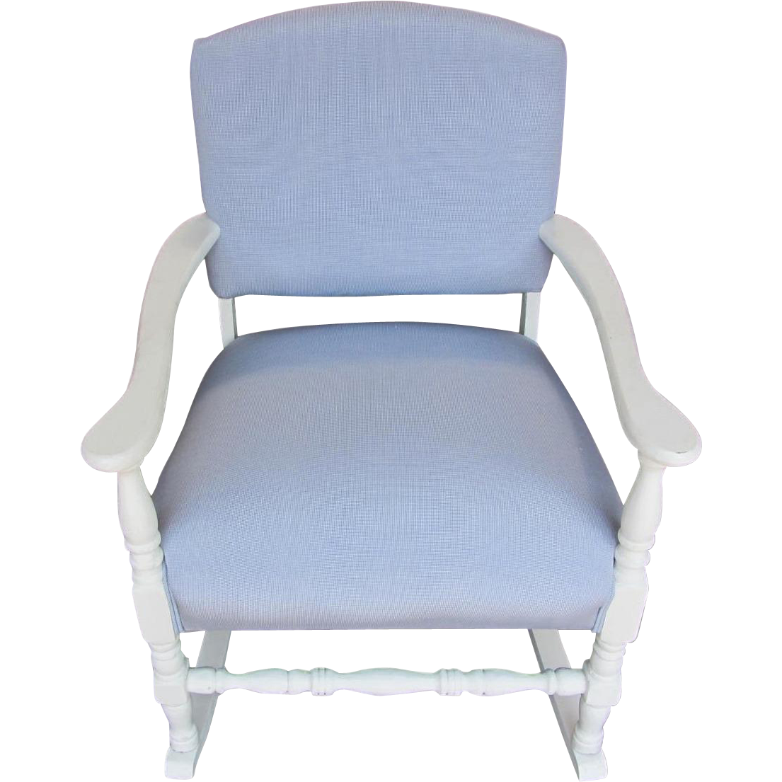 Refurbished Vintage Rocker In Blue Gingham From Bwhome On Ruby Lane. Full resolution  file, nominally Width 1105 Height 1105 pixels, file with #475B84.