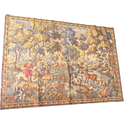 Vintage French Hunting Scene Tapestry-61x43""