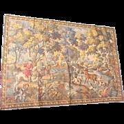 "Vintage French Hunting Scene Tapestry-61x43"""