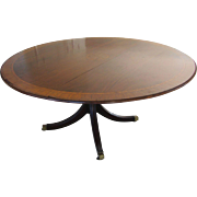 """Antique 63"""" Round Dining Table with Inlay"""