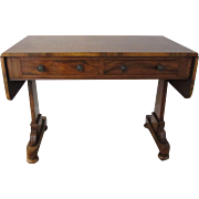 Antique Burled Empire Style Drop Leaf Writing Table