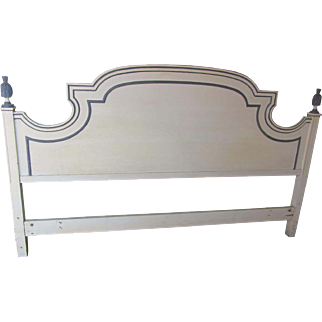 Vintage Gustavian Blue and White Painted King Headboard