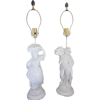 Pair of Refinished Vintage White Figural Lamps