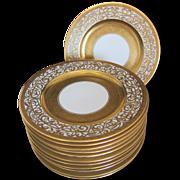 12 Vintage Thomas Bavaria Gold Gilded Deco Dinner Plates