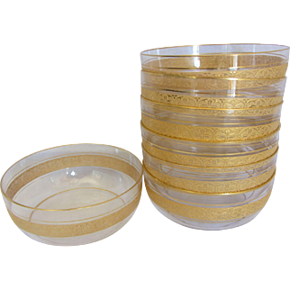 Set of 7 Gold Gilt Deco Style Condiment Bowls