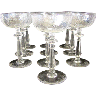 Antique Small Thistle Champagne Coupes- Set of 12