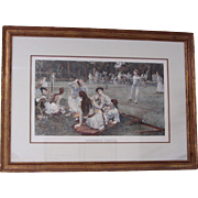 """""""Lawn Tennis"""" Large Colored Engraving by Rosenthal"""