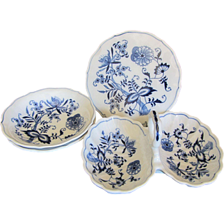 Blue Danube Trivet, Nut Dish and Coupe Bowls