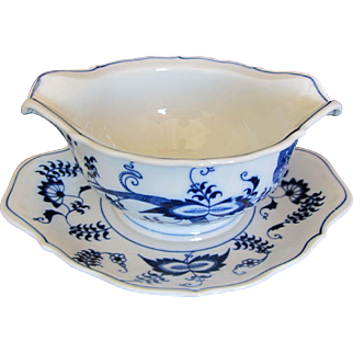 Blue Danube Gravy Boat with Attached Dish