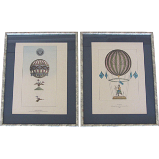Pair of Framed Vintage Ballooning Lithographs